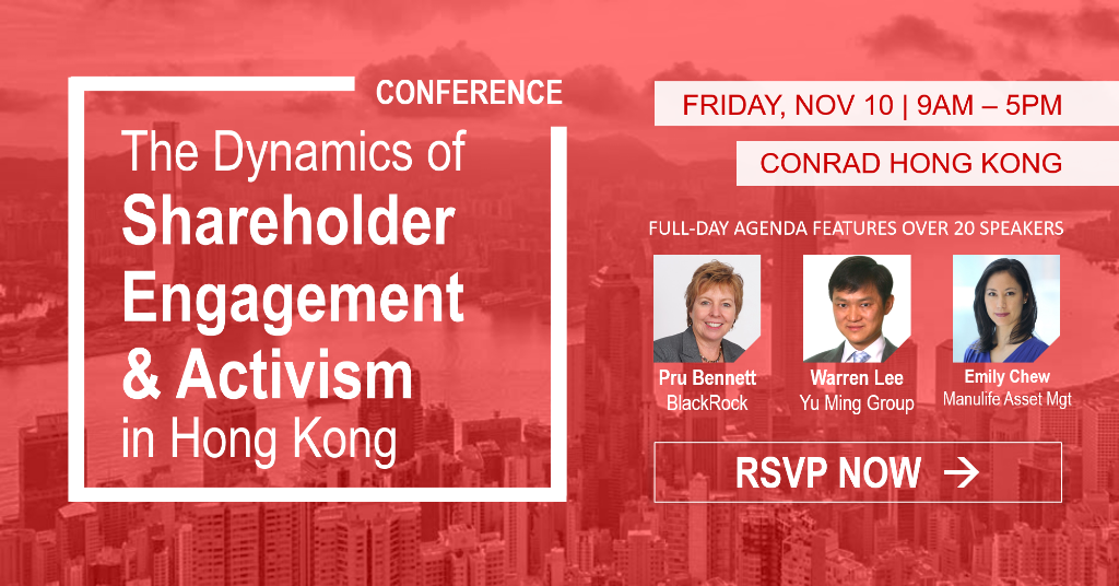 """""""The Dynamics of Shareholder Engagement and Activism in Hong Kong"""" Conference on Nov 10"""